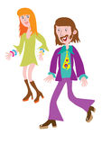 Fashionable clothes of the 1970s. Cartoon couple in the fashionable clothes of the 1970s Stock Photos