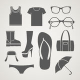 Fashionable clothes silhouettes Stock Photos