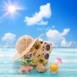 Fashionable clothes sunglasses, hat, flip-flops Stock Photos