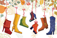Fashionable colored women's boots,shoes,autumn Royalty Free Stock Photography