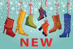 Fashionable colored women's boots,shoes.New Stock Photo