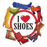 Fashionable colored women's boots ,shoes.Sign love Royalty Free Stock Photos