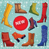 Fashionable colored women's shoes,boots. New Stock Images