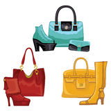 Fashionable colored womens boots ,shoes,handbags Stock Image