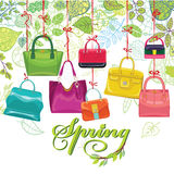 Fashionable colored womens handbags,spring leaves Royalty Free Stock Photography