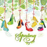 Fashionable colored womens shoes,spring leaves Royalty Free Stock Photography