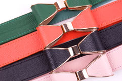 Fashionable colorful belts Royalty Free Stock Photos