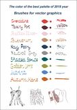 Fashionable colors 2018 palette set brushes editable vector illustration. Fashionable colors 2018 palette brushes editable vector illustration. A set of hand stock illustration