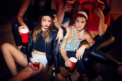 Fashionable Couple in Club Stock Photo