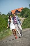 Fashionable couple in country Stock Photo