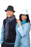 Fashionable couple  with hats Stock Photography