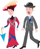 Fashionable couple in 1910 Royalty Free Stock Images