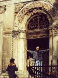 Fashionable couple near old building royalty free stock photos