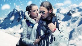 Fashionable couple posing Royalty Free Stock Photo