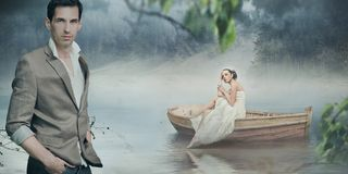 Fashionable couple posing over beautiful romantic Royalty Free Stock Photo