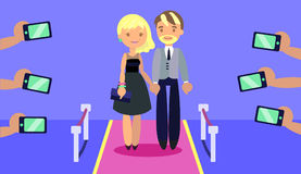 Fashionable couple on red carpet with paparazzi`s hands taking photoes with phones. Flat style. Layered illustration. Can be used for motion design or another Stock Image