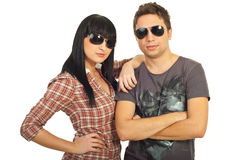 Fashionable couple with sunglasses Royalty Free Stock Image