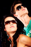 Fashionable couple with sunglasses Royalty Free Stock Photography