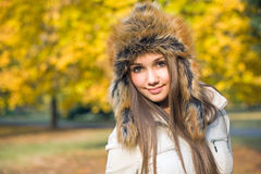 Fashionable cute brunette girl Stock Photos