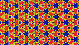 Fashionable decorative seamless geometric pattern with various shapes of red, blue, yellow, green and orange shades Stock Images