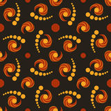 Fashionable decorative seamless pattern with circle and twirl elements of light and dark brown shades on black background Royalty Free Stock Photo