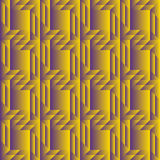 Fashionable decorative seamless pattern with different geometrical shapes of yellow and violet gradient Royalty Free Stock Photos