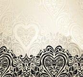 Fashionable decorative vintage valentine's day invitation background design. In black, ecru and gold Stock Photo