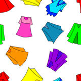 Fashionable  dresses. For girl seamless wallpaper, vector illustration Royalty Free Stock Photos