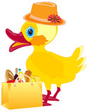 Fashionable duckling with product Stock Image