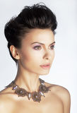 Fashionable elegant lady with jewels Royalty Free Stock Image