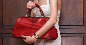 Fashionable elegant red leather handbag Royalty Free Stock Photos
