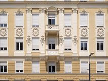 Fashionable facade in Merano. Frontal view of a sophisticated facade in Merano Stock Photos