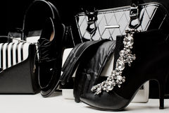 Fashionable female accessories gloves, bags, shoes, high-heeled Royalty Free Stock Photography