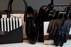 Fashionable female accessories gloves, bags, shoes. Overhead of Royalty Free Stock Images