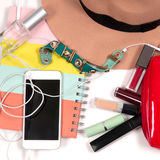 Fashionable female accessories for modern woman. Stock Image