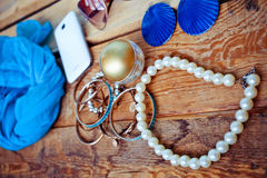 Fashionable female accessories Stock Photos