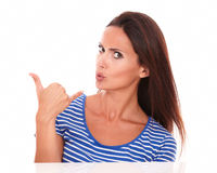 Fashionable female asking about a call Royalty Free Stock Photo