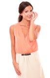 Fashionable female in elegant blouse smiling Stock Photos