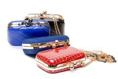 Fashionable female handbags Stock Photos