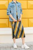 Fashionable female look with a denim blue jacket, a skirt with diagonal lines and white sneakers. Street fashion. stock images