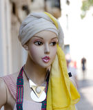 Fashionable female mannequin on Tossa's street Stock Photos
