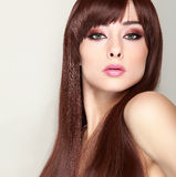 Fashionable female model with long hair Royalty Free Stock Photography