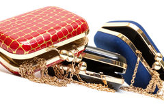 Fashionable female open handbags Royalty Free Stock Image