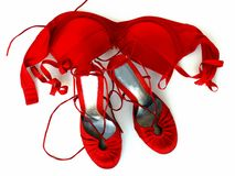 Fashionable female red shoes and red bra Royalty Free Stock Photo