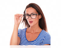 Fashionable female smiling and wearing spectacles Royalty Free Stock Image