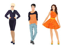 Fashionable females girls in different dress styles. Elegant, office and casual street style. Stock Image