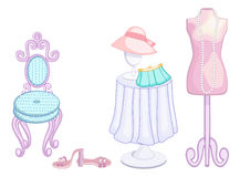 Fashionable and feminine. A pretty pink dressmakers dummy mannequin hung with pearls and other girly accessories for her dressing room or closet- clearly labeled Stock Photo