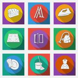 Fashionable flat icons with long shadows cleaning theme. Stock Image