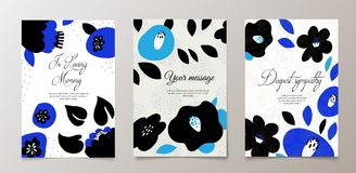 Fashionable funeral card, death notice. Vector design. With flowers royalty free illustration