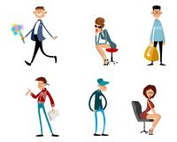 Fashionable funny characters. Vector illustration of a set of fashionable funny characters Royalty Free Stock Images